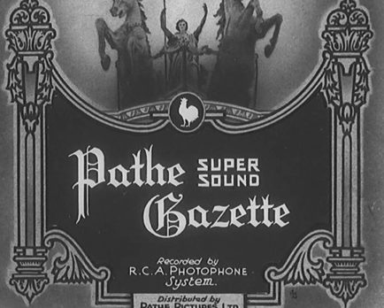 A title card from a Pathe Super Sound Gazette